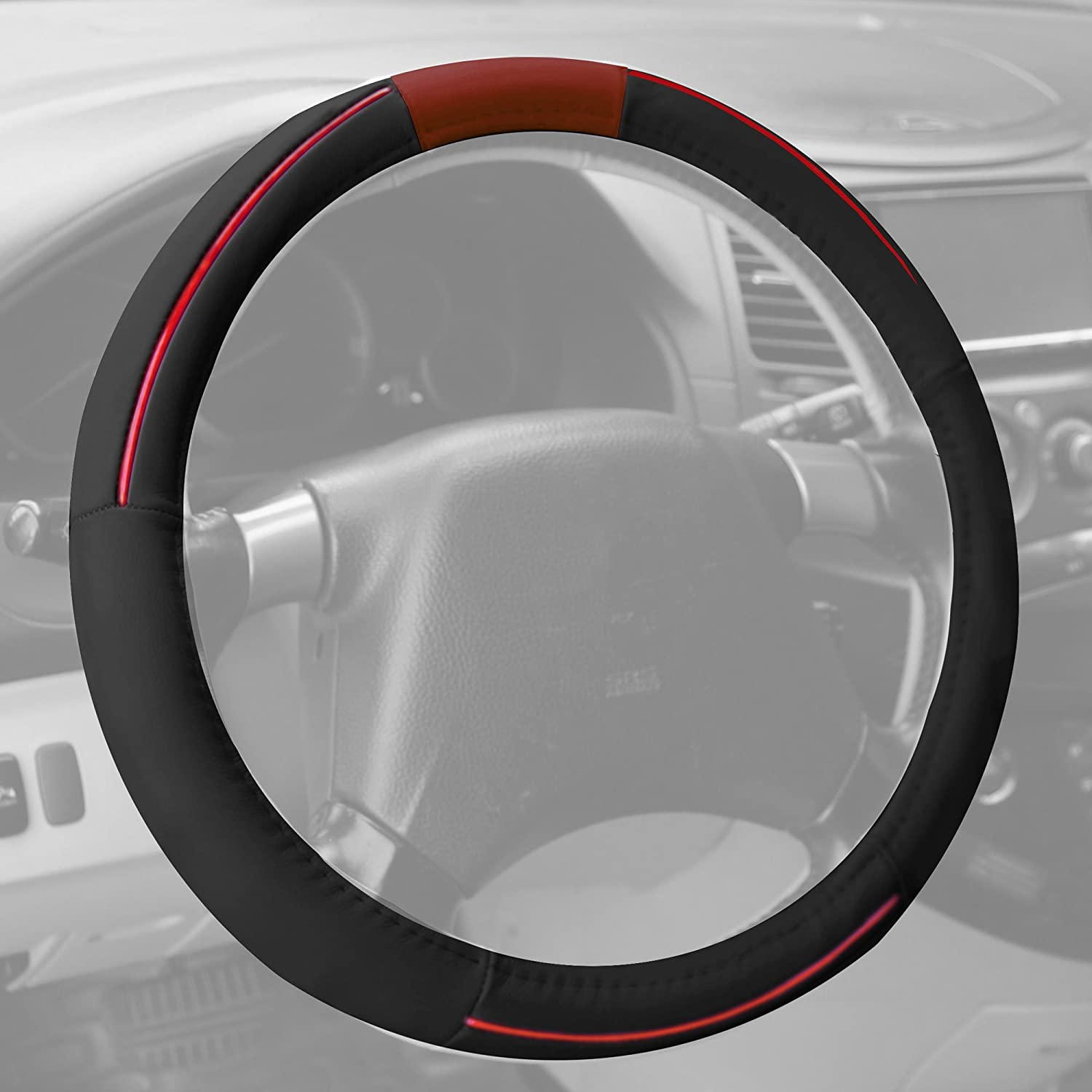 FH-2003 Rubber Molded Top Grain Authentic Leather Steering Wheel Cover Gray FH Group