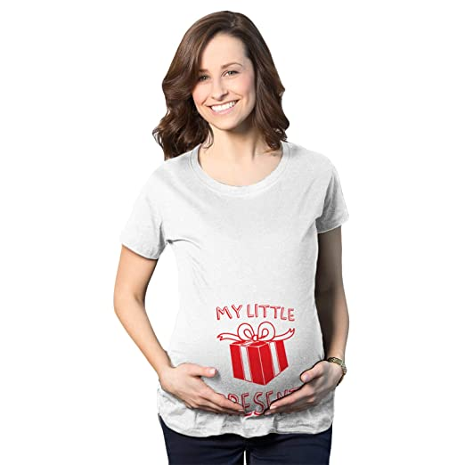 45e6f5e00 Crazy Dog T-Shirts Maternity My Little Present Funny Bump Christmas  Pregnancy Announcement T Shirt