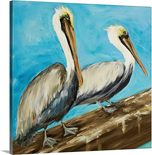 Pelicans on Post II Canvas Wall Art Print