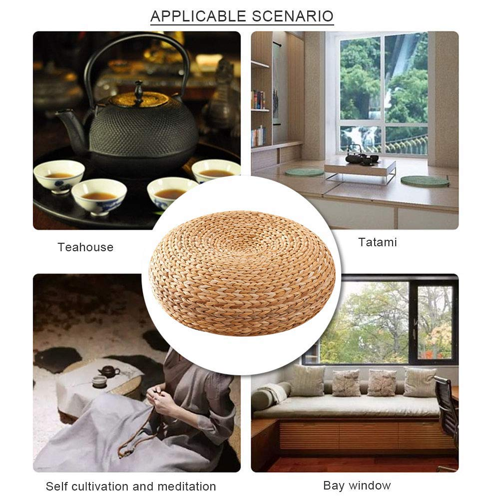 Cushion Straw Mat Round for TeaRoom Hand Knitted Japanese Style Tatami Cushion Floor Tea Ceremony by VnHome