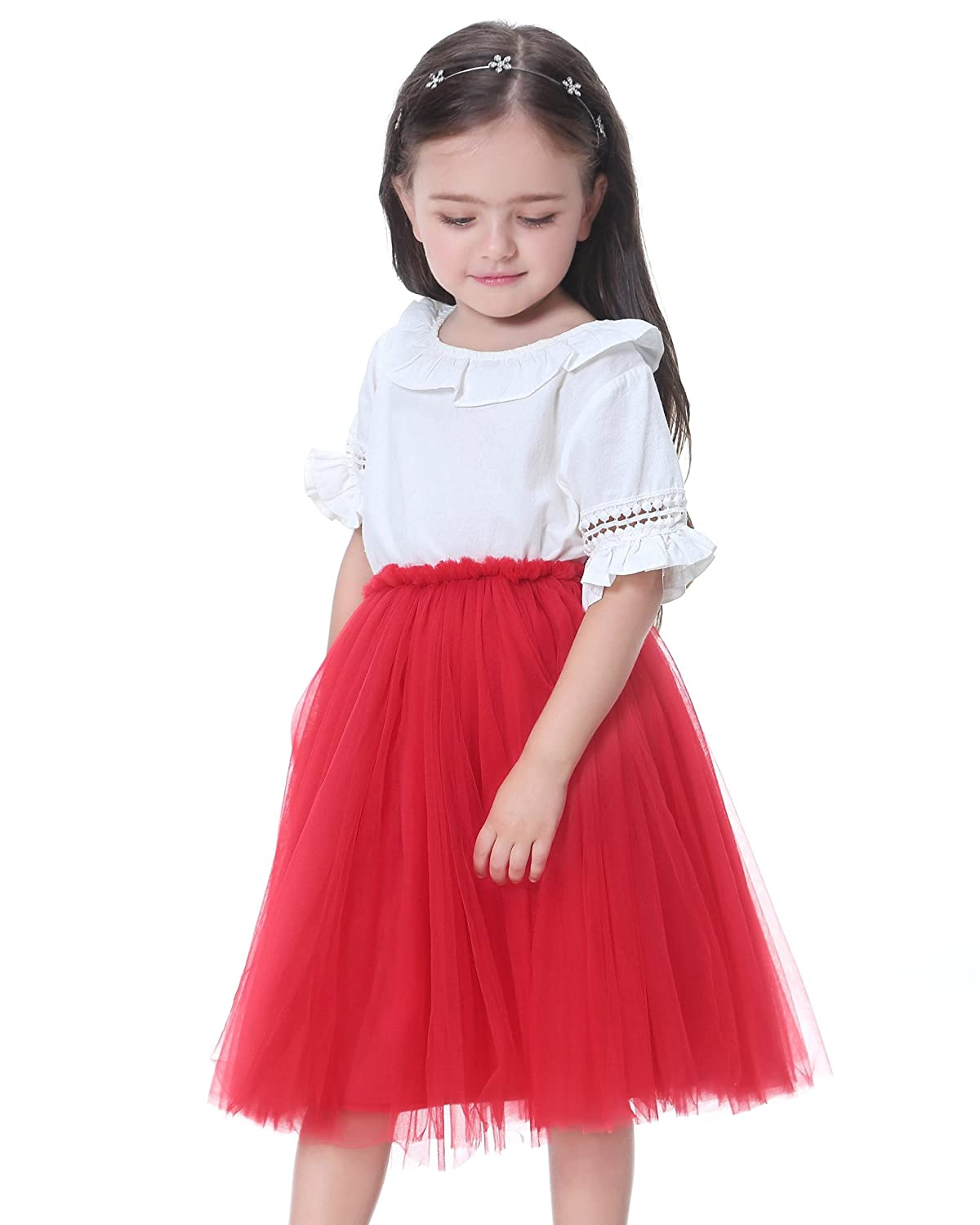 Flofallzique Little Girls Skirts Mid Calf Tulle Dancing Party Skirt for Kids Clothes Feige FLOSK14