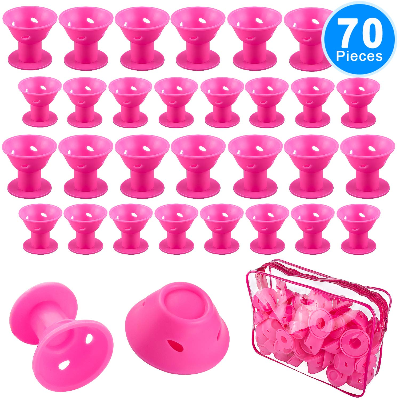 SIQUK 70 Pcs Silicone Hair Curlers Rollers Set Pink Hair Curlers including 35 Pcs Large Hair Rollers and 35 Pcs Small Magic DIY Hair Style Tools for Women and Girls(Bonus: 1 Pc Transparent Zipper Bag)