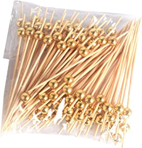 BAIYA Toothpicks for Appetizers Wooden Gold Pearl Cocktail Picks - 4.72