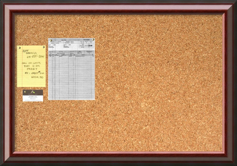 Framed Cork Board Large, Cambridge Mahogany Wood: Outer Size 40 x 28''