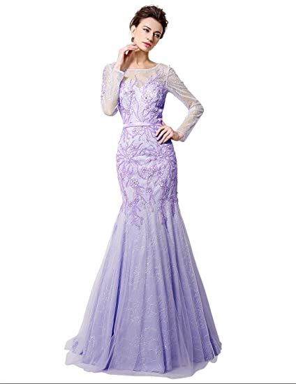 Sarahbridal Womens Mermaid Tulle Long Beaded Evening Dress Prom Gown UK12 Lilac