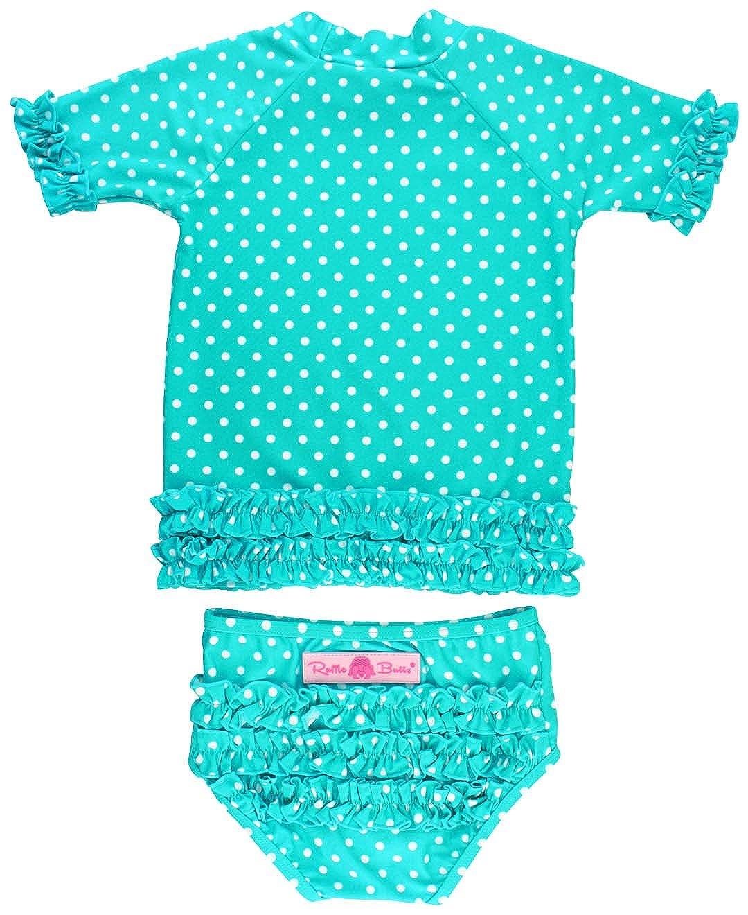 RuffleButts Little Girls Rash Guard 2-Piece Swimsuit Set - Polka Dot Bikini with UPF 50+ Sun Protection RGSYYXX-SSPK-SC-TDLR