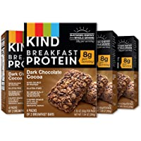 KIND Breakfast Bars,Dark Chocolate Coca Bars, 8g Protein, Gluten Free, 4 count (pack of 4)