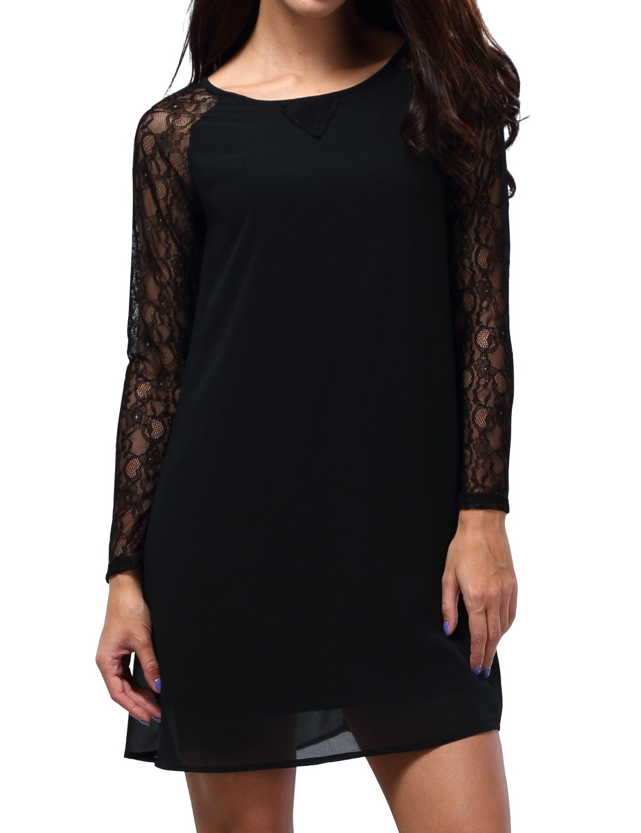 Bepei Women Lace In Point Black Lace Shift Dress S