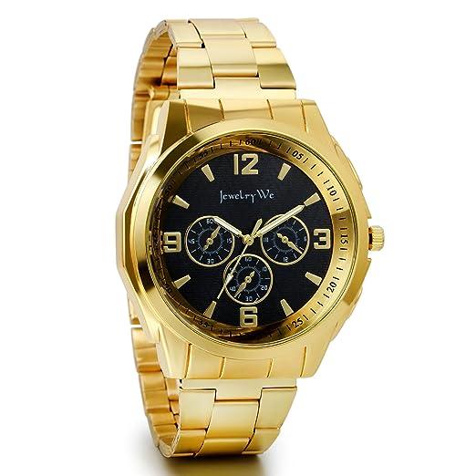 JewelryWe Reloj dorado de esfera negra, reloj de caballero cuarzo, 3 ojos de decoración, reloj de hombre acero inoxidable: Amazon.es: Relojes