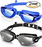 2 Pack Swim Goggles,Adult Swimming Goggles for Men Women Youth Kids,Anti Fog UV Protection,No Leaking,Shatterproof,with Ear Plug(Black,Blue)