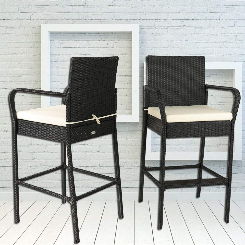 Leaptime Outdoor Rattan Chair Patio Rattan Bar Stool Set Garden Furniture Black Wicker Bar Chair with Beige Cushions Set of 2