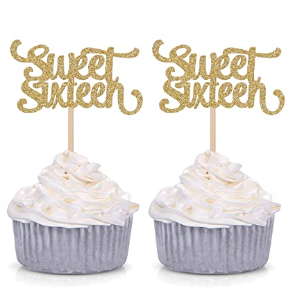 Adornos para cupcakes con purpurina dorada de 24 hilos, para ...