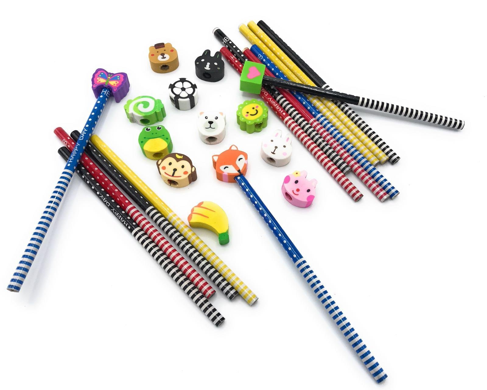 Gennilo Pack of 40 Pencils with Erasers Colorful Novelty Cartoon Animals' Stripe Eraser Wood Pencils (7.28'') for Students & Children Gift (40pcs cartoon pencil with eraser), Animals Assorted by Gennilo (Image #6)