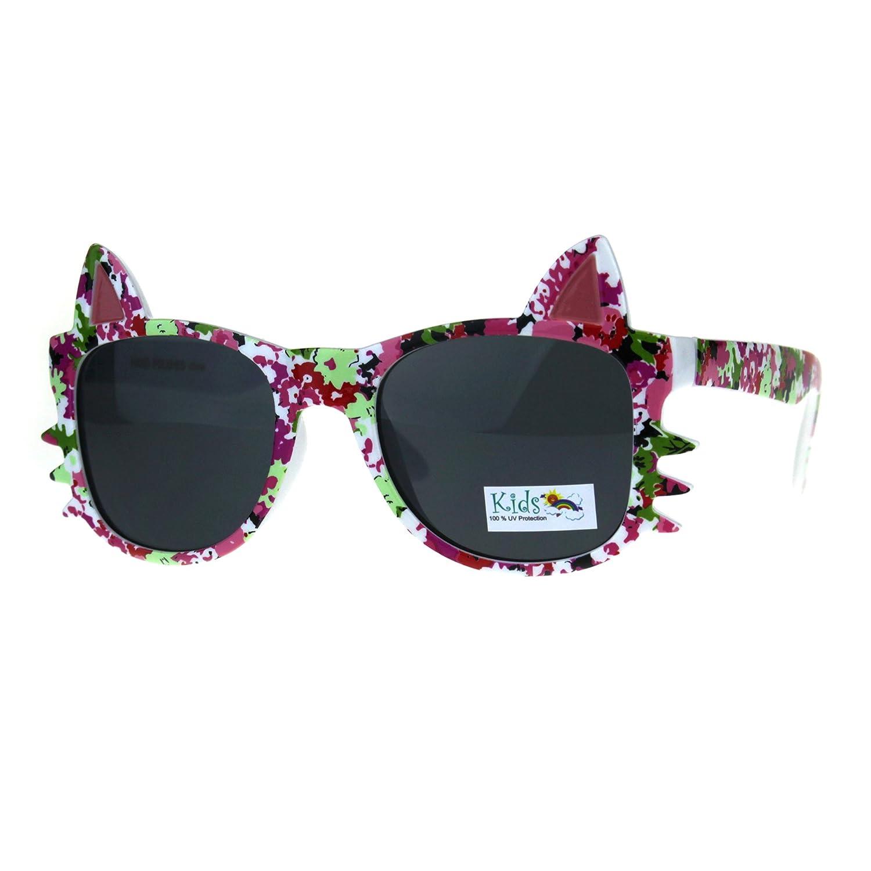 807109f080 Amazon.com  Girls Sunglasses Kitty Cat Whiskers Ears Frame Kid s Fashion UV  400 Black  Clothing