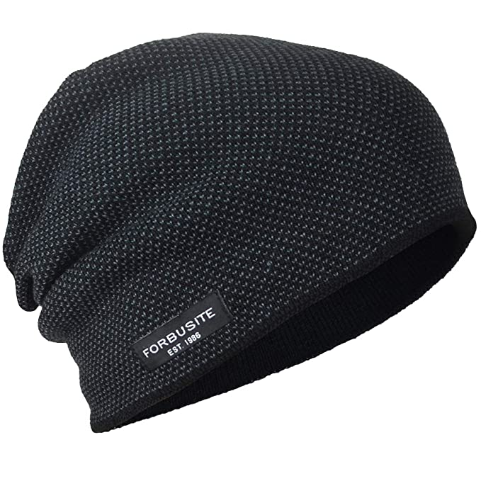 Mens Beanie Hat Fleece Lined Knit Hat Thick Skull Cap (Black ... 73aac48b668