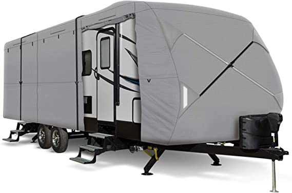Leader Accessories Windproof Upgrade Travel Trailer RV Cover Fits 27'-30' Trailer Camper 3 Layer Size 366