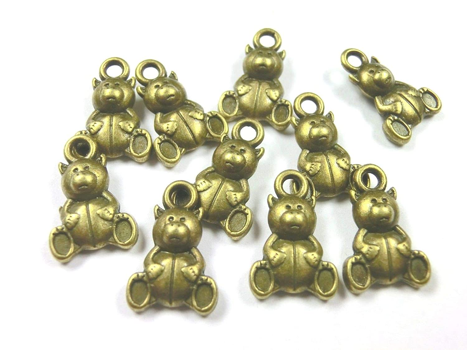 10  Charms Eule Anhänger 20x11mm Farbe bronze Metall #S539
