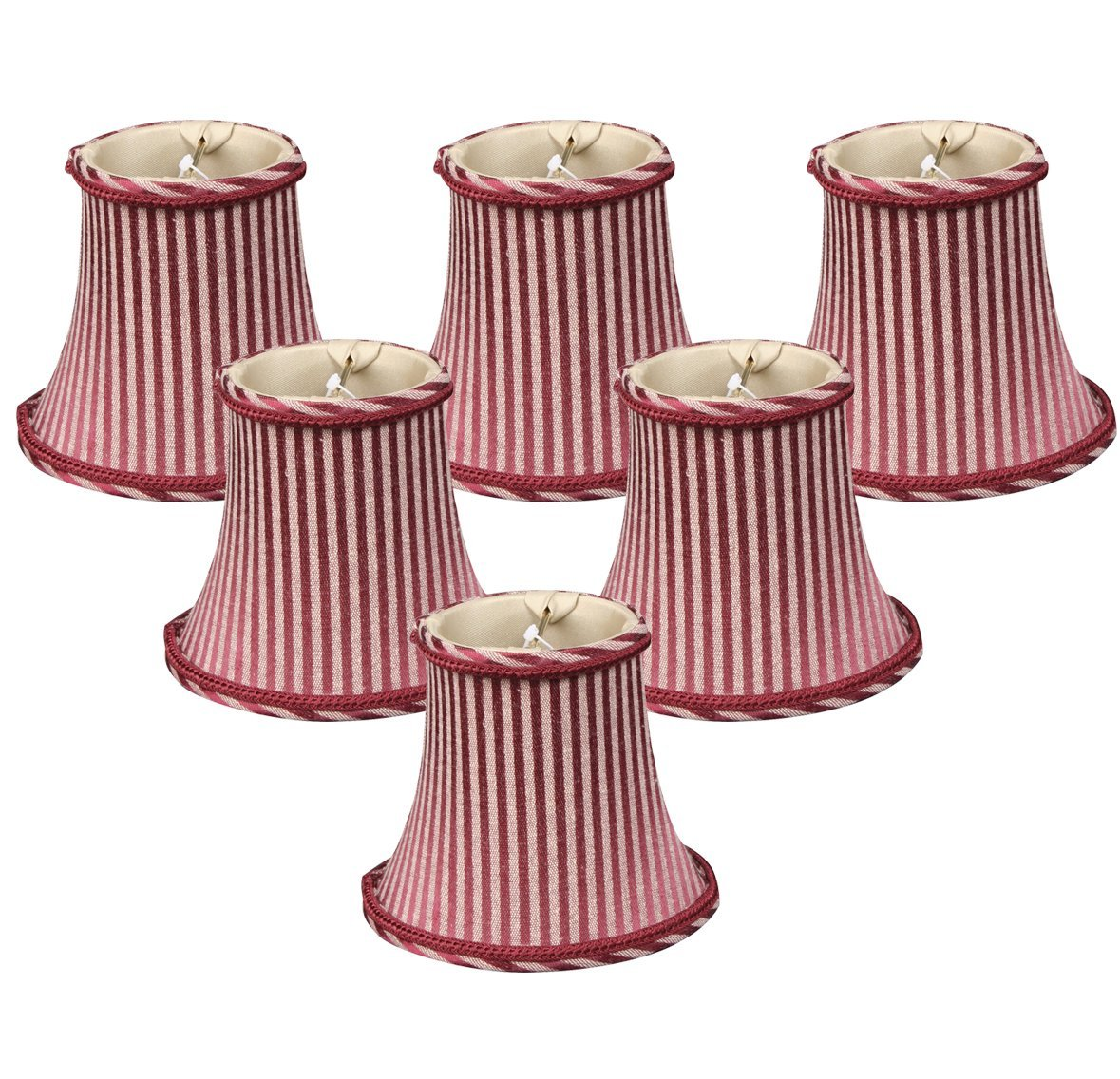 (6 Pack) Royal Designs 6'' Burgundy/Antique Gold Striped Chandelier Lamp Shade, 3 x 6 x 4.5 (CS-611AGL/BUR-6) by Royal Designs, Inc
