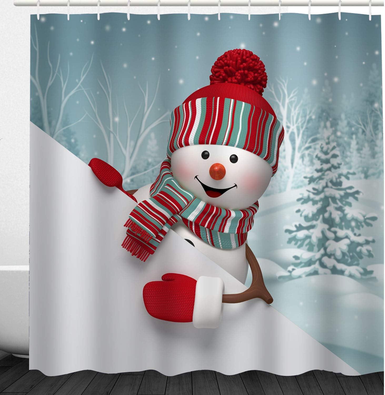 Christmas Cartoon Cute Snowman in Winter Waterproof Shower Curtain Rugs Set/&Hook