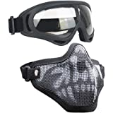 Infityle Airsoft Masks - Adjustable Half Metal Steel Mesh Face Mask and UV400 Goggles Set for Hunting, Paintball, Shooting