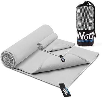 Wolfyok - 2 Toallas deportivas de microfibra, juego de toallas de secado rápido