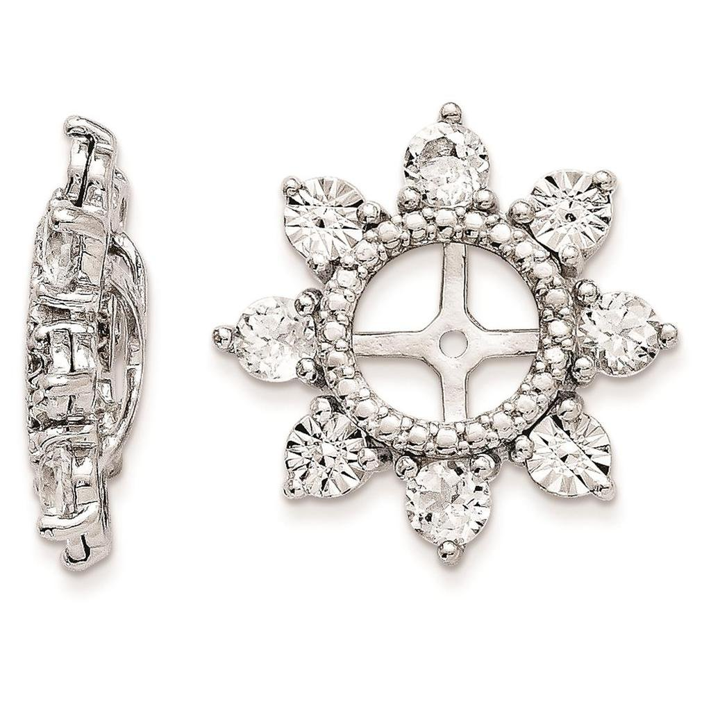 925 Sterling Silver Rhodium-plated Polished /& Textured Diamond /& White Topaz Earring Jacket