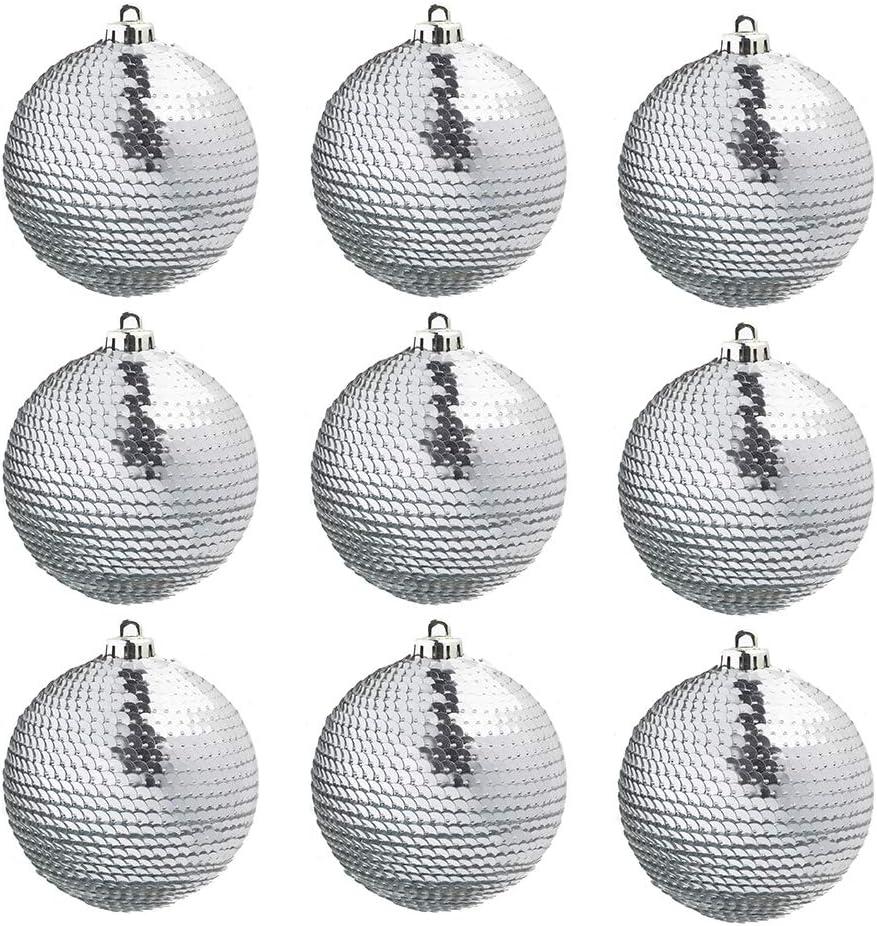 argent/é CREOFANT Lot de 9 Boules de No/ël /à Paillettes en Plastique incassables 60 mm