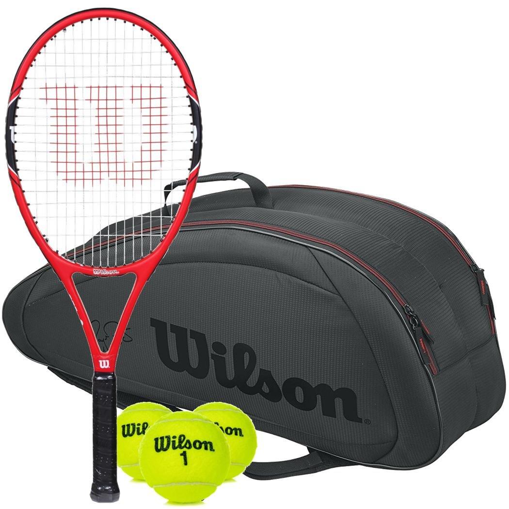 34ebf583b1011 Amazon.com : Wilson Federer 100 Pre-Strung Oversized/Extended Red ...