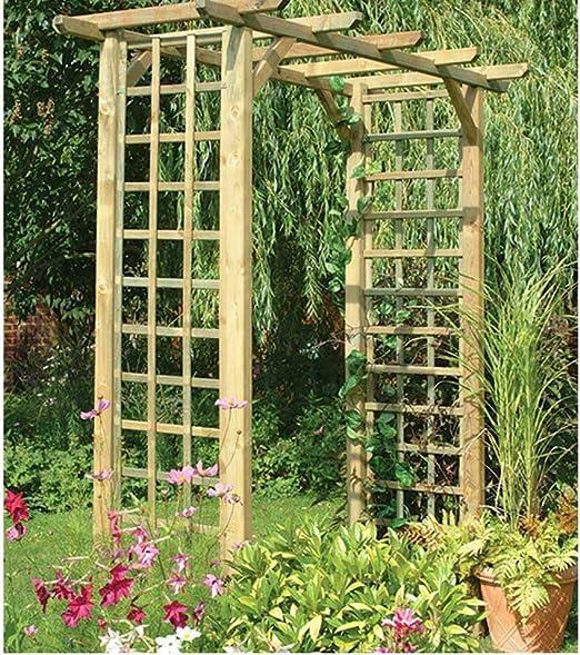 Cuadrado clásico arco de madera enrejado jardín para plantas trepadoras apoyo: Amazon.es: Jardín
