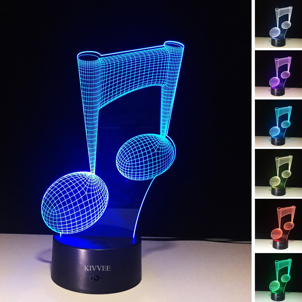 Visual 3D Night light Note Shape 2D Table Lamp for Music Guitar lovers toys Musical instruments Gift Acrylic LED lighting Furniture Decorative colorful 7 color change household Home Desk Accessories