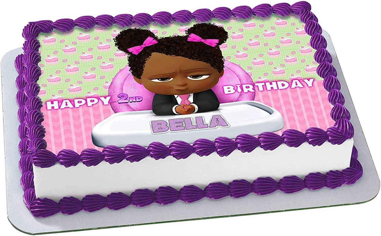 Marvelous Amazon Com African American Girl Boss Baby Edible Cake Image Personalised Birthday Cards Paralily Jamesorg
