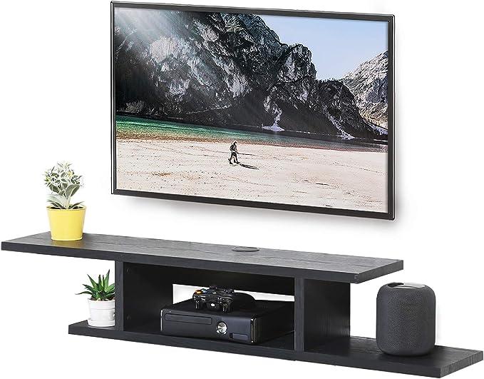 FITUEYES DS211801WB Consola de medios de pared, estante de componentes flotante para TV, color negro y gris: Amazon.es: Juguetes y juegos