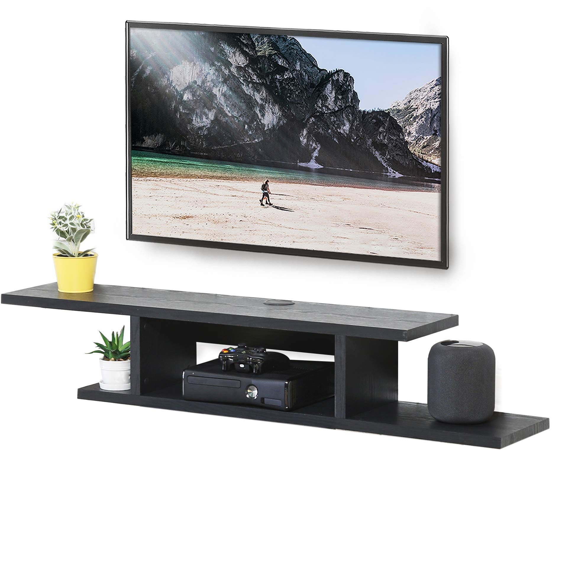 FITUEYES Wall Mounted Media Console Floating TV Stand Component Shelf Black Grain DS211801WB by FITUEYES