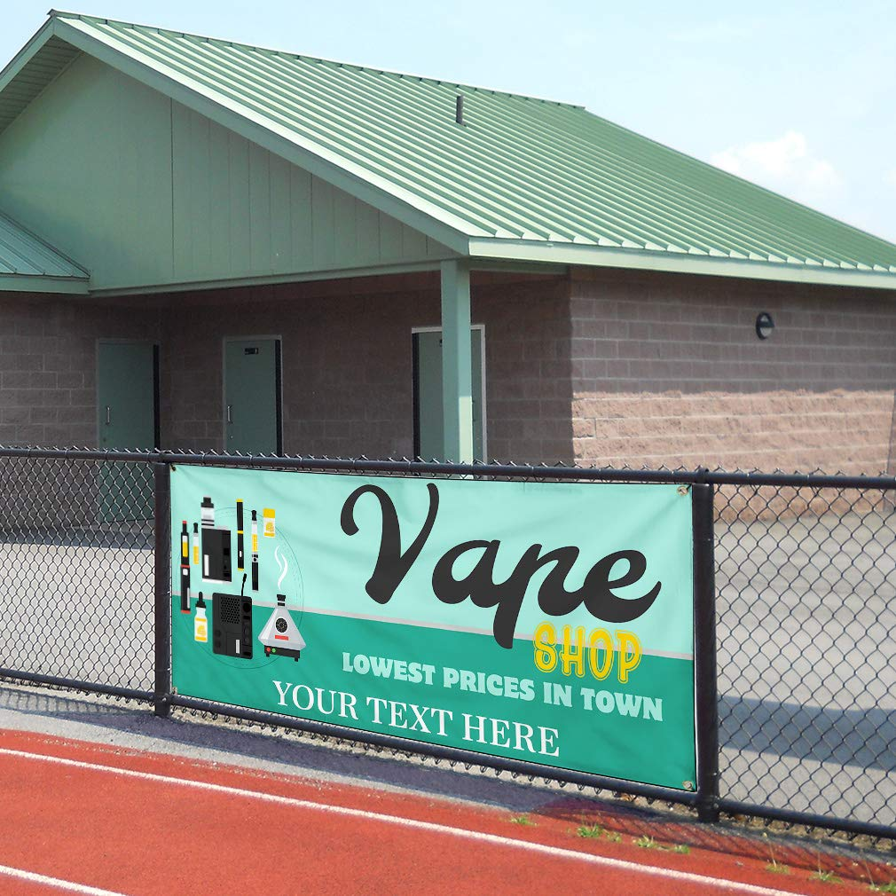 Custom Industrial Vinyl Banner Multiple Sizes Vape Shop Lowest Prices in Town Personalized Text Architecture Outdoor Weatherproof Yard Signs Teal 8 Grommets 44x110Inches