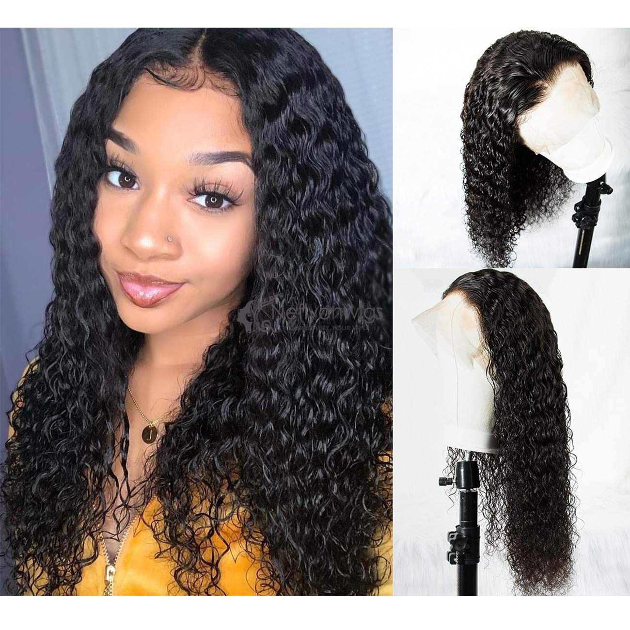 Amazon Com 360 Lace Frontal Wigs 180 Density Water Wave Human Hair Wigs With Baby Hair For Black Women Natural Color 14inch Beauty