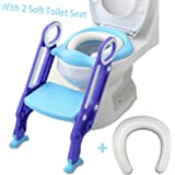 Toddler Toilet Training Seat with Sturdy Non-Slip Ladder Step & One Extra Soft Toilet Seat Baby Potty Training Seat Potty Ladder