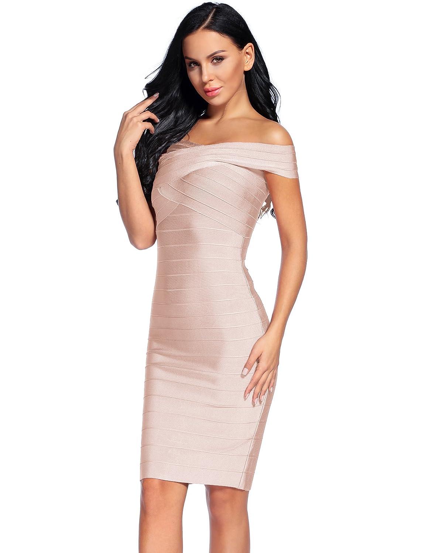 4a391e779fd Madam Uniq Women's Bandage Dress Off The Shoulder Bodycon Dresses Club at  Amazon Women's Clothing store: