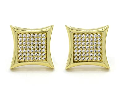 e6e43543f Image Unavailable. Image not available for. Color: Mens 10mm Gold Plated Cz  Micro Pave Iced Out Hip Hop ...