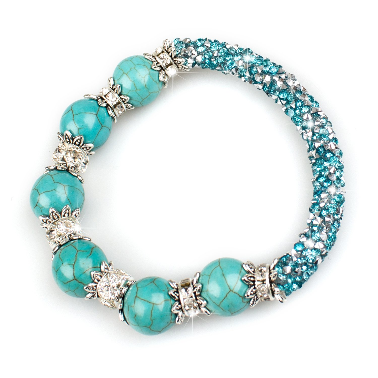 Leefi Turquoise,Gem Semi Precious Gemstone 8mm Round Turquoise Beads Stretch Bracelet for Women 6.49'' (Blue Turquoise)