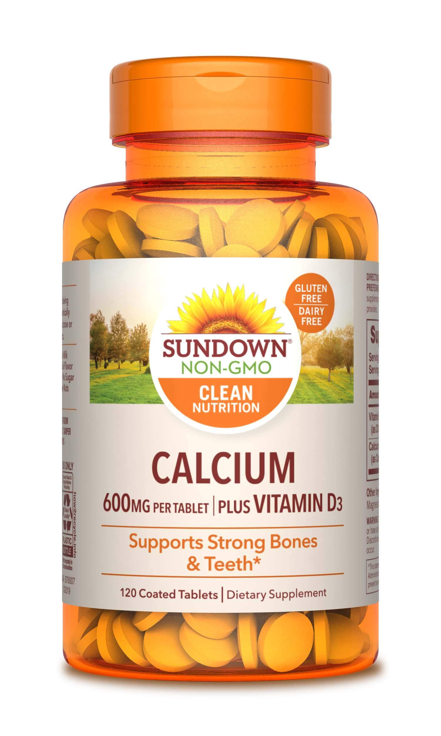 Calcium & Vitamin D by Sundown, Immune Support & Bone Health, 600 mg Calcium & 250IU Vitamin D3, Gluten Free, Dairy Free, 120 Coated Tablets