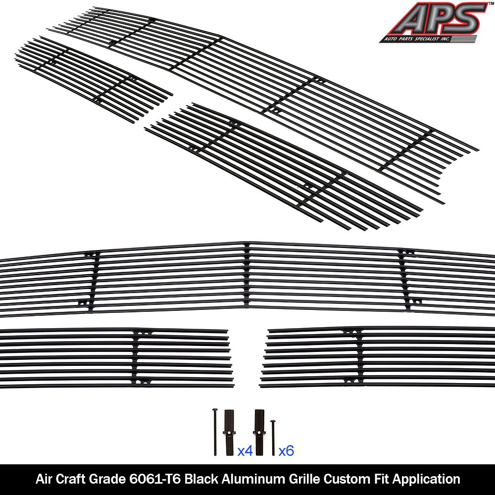 APS Compatible with 2015-2019 Dodge Challenger Lower Bumper Stainless Steel Black 8X6 Horizontal Billet Grille Insert D66339J