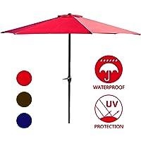 Lokatse Home 9-Foot Patio Umbrella with Crank (Red)