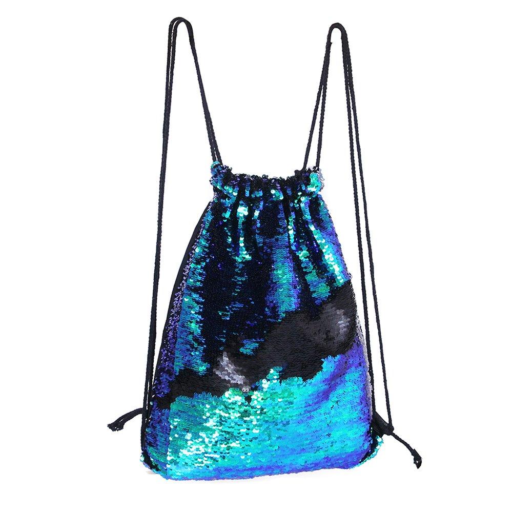 Play Tailor Mermaid Drawstring Bag, Reversible Sequins Drawstring Backpack for Women Girls Teens (Blue w/Pink) HG-BAG00101@#JCS