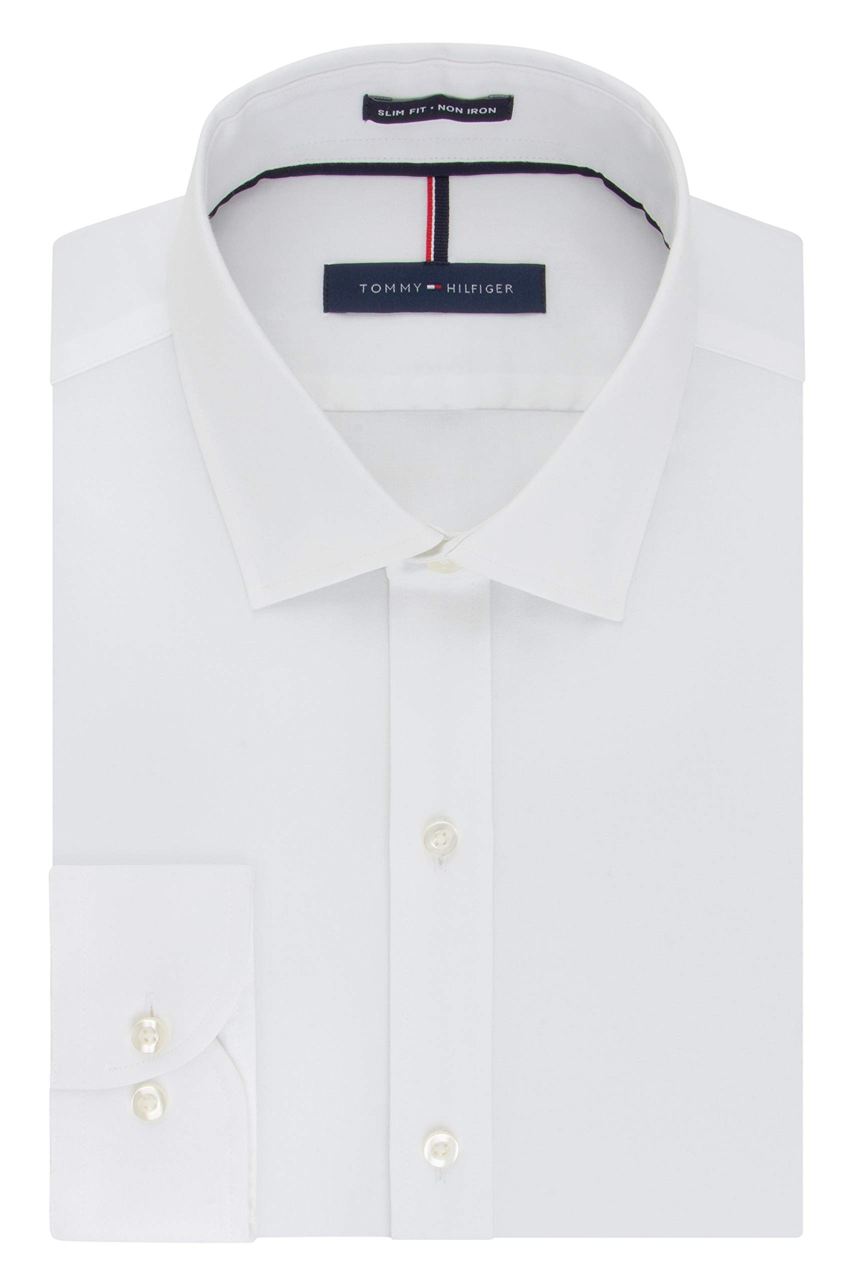 Tommy Hilfiger Men's Non Iron Slim Fit Solid Spread Collar Dress Shirt, White, 17.5'' Neck 32''-33'' Sleeve