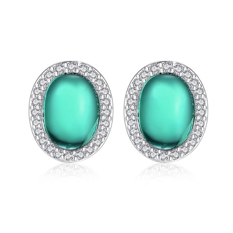 CS-DB Silver Trendy Stylish Green Oval Cut Cubic Zirconia Stud Charm Earrings