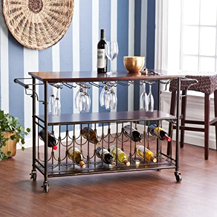 Gentil Randall 18 Bottle Bar Cart Wine Cage With Wine Glass Storage In Brown