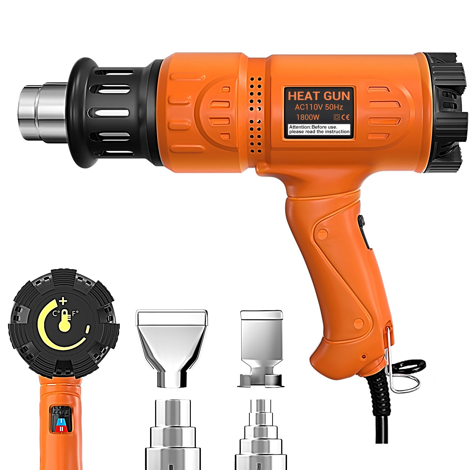 Heat Gun 1800W Heavy Duty Hot Air Gun Variable Temperature Control with 2-Temp Settings 4 Nozzles 140℉~1112℉(60℃- 600℃)with Overload Protection for Stripping Paint, Bending Pipes, Lighting BBQ