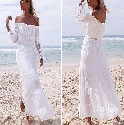 Sannysis falda mujer Vestidos de playa largos blanco: Amazon.es: Ropa y accesorios