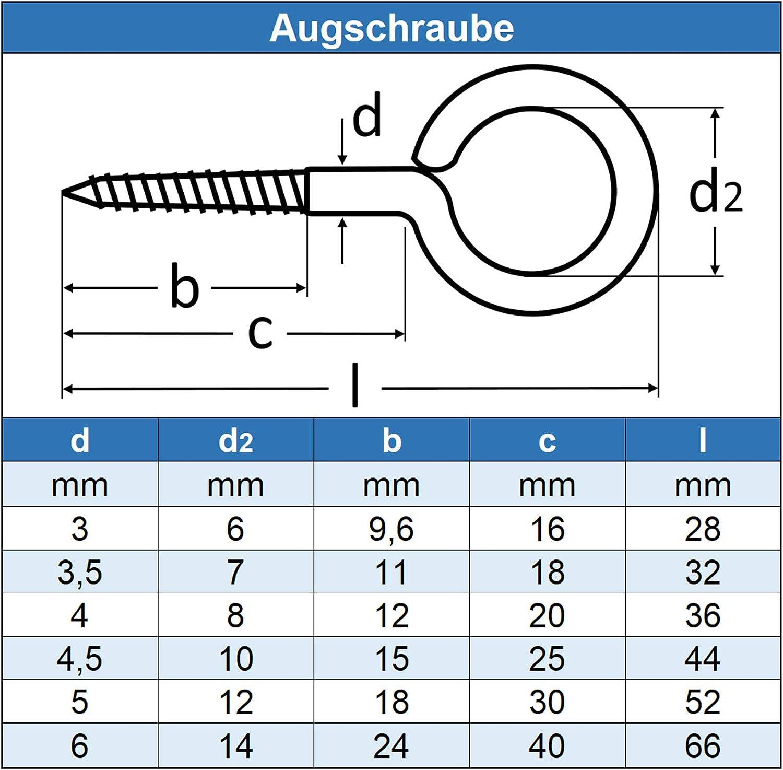 Eisenwaren2000 4 x 36 mm Aug-Schraube - /Ösenschrauben mit Holzgewinde Ringschrauben rostfrei 50 St/ück Edelstahl A2 V2A