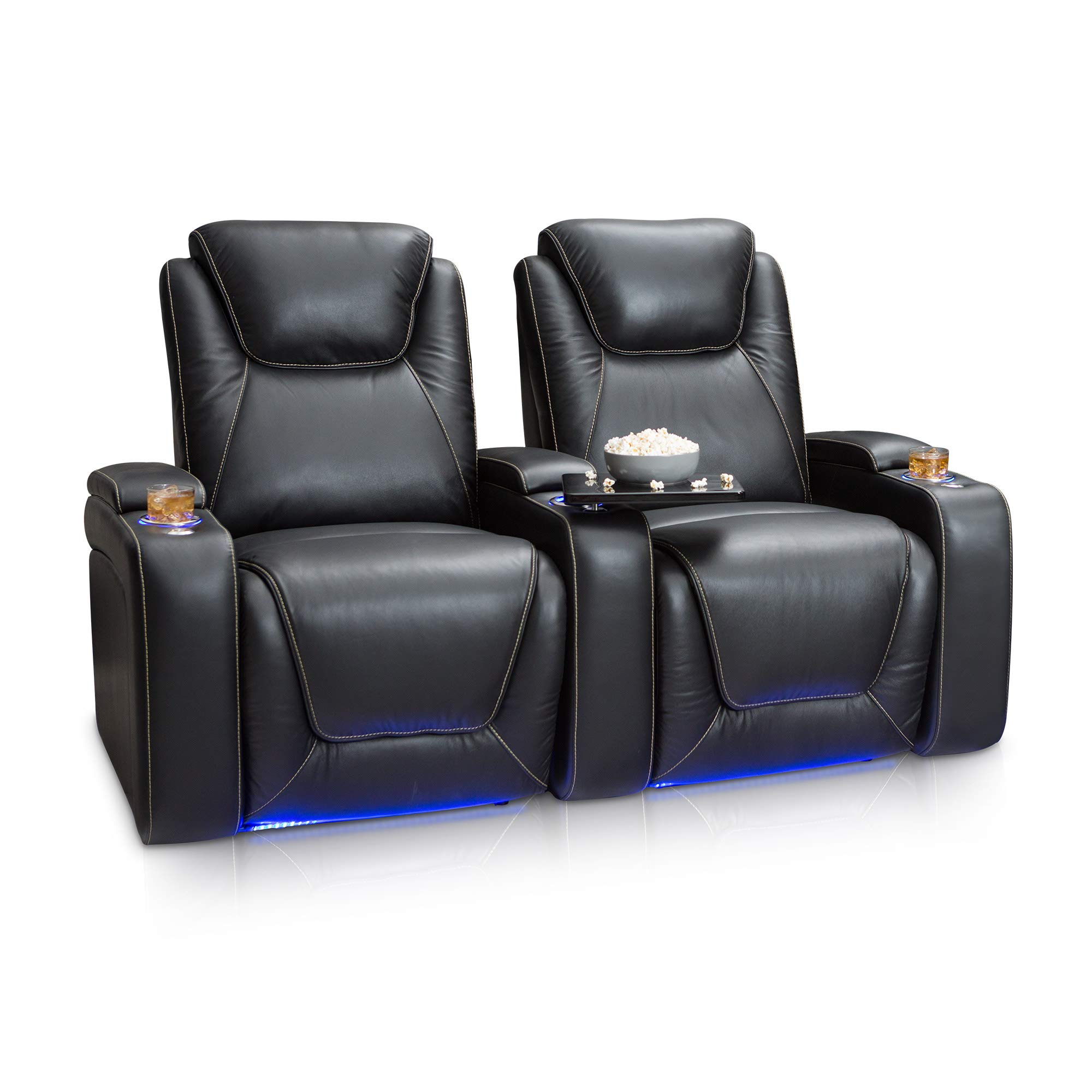 Seatcraft Equinox Home Theater Seating Power Recline Leather (Row of 2, Black) by Seatcraft